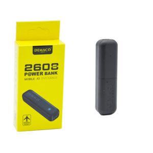 Внешний аккумулятор - PowerBank DEMACO DMK-A3 2600ma=1200ma black